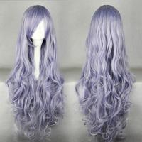 Free Shipping 90cm Long  Rozen Maiden Wavy Light Purple Anime Cosplay Costume Wig