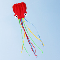 Red Head Colorful Tail Octopus Kite Soft Kite Single Line Kite Flying Higher Easy Control Hot Sell Free Shipping