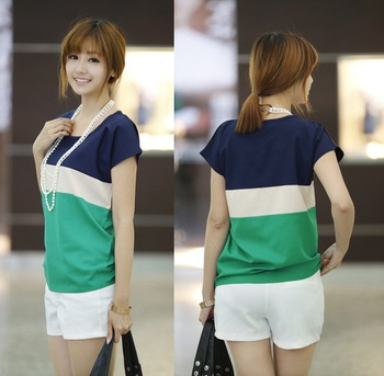 2013 new fashion women's stripe chiffion blouses, short sleeve big size S M L XL SIZE tops shirts for women