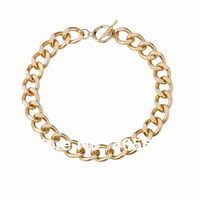Fashion hot chunky Aluminium linakge chain necklace, gold color