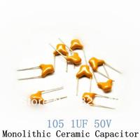 105 1UF 50V 5.08MM +-20% monolithic capacitors / multi-layer ceramic capacitor (50pcs/lot)