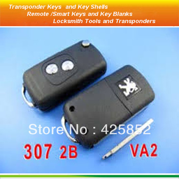 high quality Peugeot  flip replacement  Remote Key Shell Blanks 2 button 307 without Groove with blade VA2