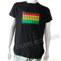 High Quality 1 pcs Men's EL T-Shirt Sound Activated Flashing T Shirt Light Up Down Music Party Equalizer LED T-Shirt  651995