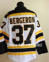 Free Shipping,#37 Patrice Bergeron Men's Ice Hockey Jersey,Embroidery and Sewing Logos,Size M--3XL,Accept Mix Order