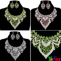 Free Shipping New Hot Wedding Party Bridal Bridesmaid Crystal Rhinestone Earring Necklace Jewelry Set White/Green/Pink WA244
