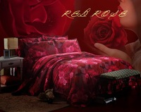 3d bedding sets  queen oil painting print 4pcs bedclothes red rose comforter sets flowers bed set Do not fade bed linen