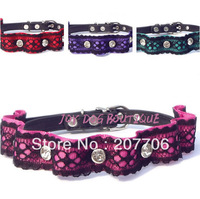 Bling Bling Full Rhinestones Dog Leather Collar with Lace