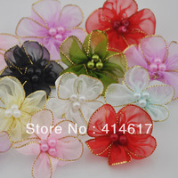 40x Lot mix Organza Ribbon Flower w/Pearl Appliques/craft/Wedding decoration ZA027