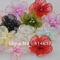 40x Lot mix Organza Ribbon Flower w/Pearl Appliques/craft/Wedding decoration ZA027