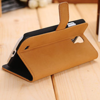 With Stand Wallet Card Holder Leather Flip Cover Case with Stand for Samsung Galaxy S4 i9500 with 4 colors
