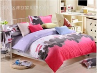 Lovely Mouse Factory directly sales,Good hand feeling Diamond velvet 4pcs bedding sets,50% polyester +50% cotton ,Simple style