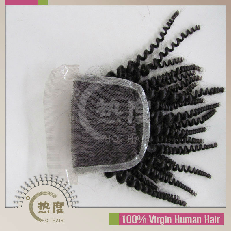 100% virgin unprocessed cheap brazilian hair free shipping kinky curly virgin hair 4x4 lace closure tangle free shedding free(China (Mainland))