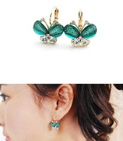 7color small accessories gold butterfly rhinestone wings earring dragonfly fashion earrings