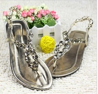 2013 women's shoes rhinestone sandals elastic strap casual crystal slippers female slippers