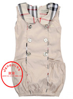 Free Shipping New Summer 2014 Brand Girls Dress  Classic double-breasted plaid Pattern Dress for Children/kIds Clothing