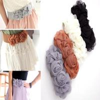 2014 Exclusive Korean 4 colors Fashion Elegant Delicate Charming Chiffon Rose flower Stretch Waist Belt Wedding accessories PT37