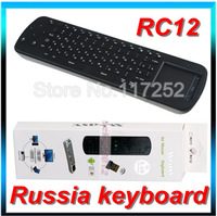 Free Shipping  2.4G Mini wireless Russian keyboard fly air mouse RC12 for Android TV BOX mini PC for TV Player