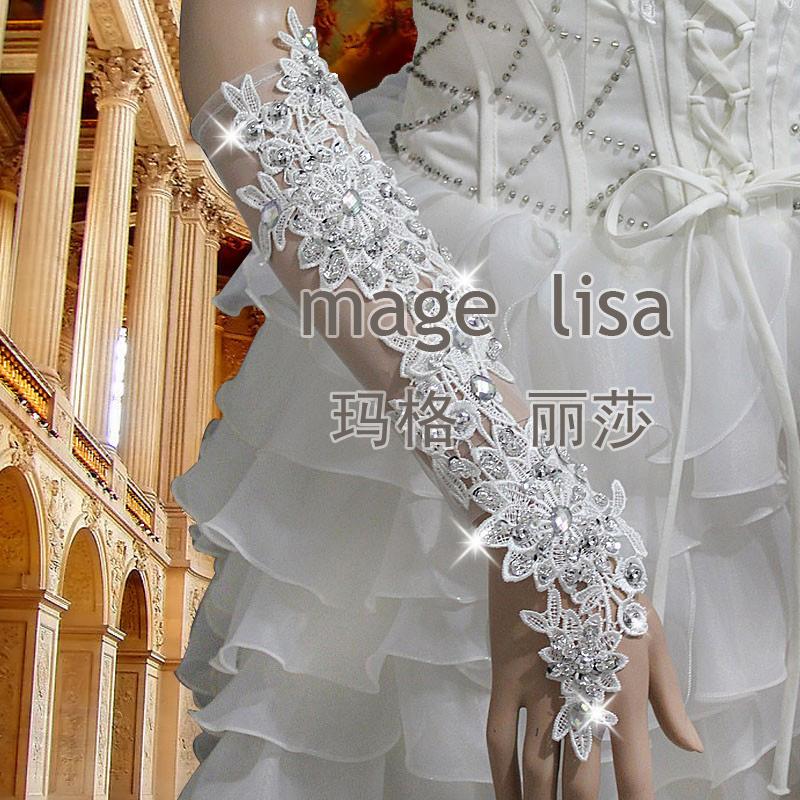 Fashion Luxury Hand-beaded lace Fingerless Bridal Gloves With Sparking Rinestones(China (Mainland))