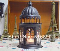 FREE SHIPPING!Castle design candle holder Weddings lantern iron+glass Candle Holder wedding gift house or shop decoration Black