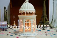 FREE SHIPPING!Castle design candle holder Weddings lantern iron+glass Candle Holder wedding gift house or shop decoration White
