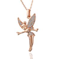 Retro Fairy Pendants Fashion Jewelry 18K Rose Gold Plating Rhinestone Crystal Necklace 18KGP N011