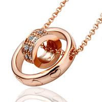 Wholesale Fashion Jewelry 18K Rose Gold Plating Rhinestone Crystal Double Round shape Pendant Necklace 18KGP N029