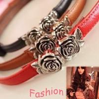 2014 New Brand Design 4 colors Korean Fashion Elegant Romantic Metal Rose Flower PU leather belt Jewelry wholesale Hot sale PT37