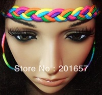 Wholesale and Retail fashion freeshipping colorful braid elastic hair accessory assorted colors 12pc/lot
