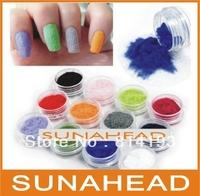 12 Color Velvet Flocking Powder Set Nail Art Decoration Polish Tips Manicure