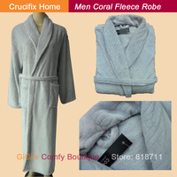 2013 Autumn And Winter Good Quality Light Grey Coral Fleece Stripe Embossing Long Design Sleepwear Men (CH028)