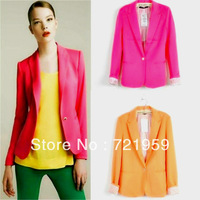 Free   shipping  2013zara women's new arrival fashion slim blazer fashion outerwear candy color one button suit
