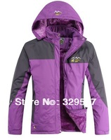 Wholesale Women mixed colors thickness fleece inside hood outdoors Jackets climbing jacket ski suit winter jacket