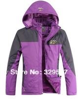 Wholesale Women mixed colors thickness fleece inside hood outdoors Jackets climbing jacket ski suit winter jacket