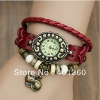 2013 NEW Fashion Cow Leather women's Analog Watch lady bracelet vintage wristwatch with kitten Cat pendant