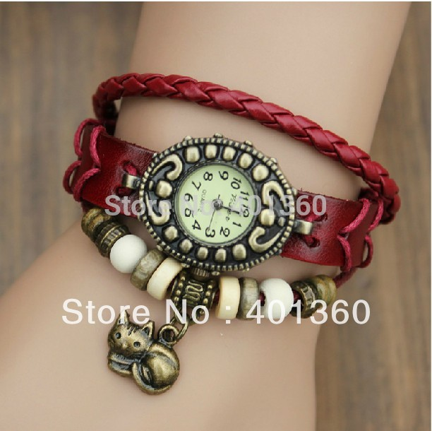 NEW Fashion Leather Women's Analog Quartz Antique Watch Lady Bracelet Vintage Wristwatch with Kitten Cat Pendant(China (Mainland))