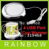 50pcs/lot RA New 4 Port USB Hub Tea Coffee Beverage Electric Cup Mug Warmer Heater Pad  for PC Laptop Free Shipping