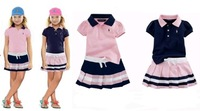 New, retails ,Free Shipping,girls clothes, set, T shirt+jean dresses,1set/lot, 2T-6T--JYS254