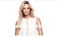 Free Shipping Chiffon Shirts White Color Women's Sleeveless Hot drilling Shirt
