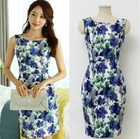 2014 cotton summer dress OL temperament sleeveless elastic Slim printed dress plus size XL For Women Fashion Wear 8861