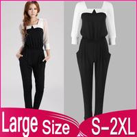 2014 New spring and summer elegant slim chiffon pants bodysuit trousers harem pants Women's jumpsuit S M L XL XXL free shipping