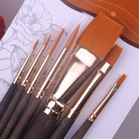 Hair-Golden Taklon Painting Brush Use with Acrylic,Watercolor,Oil and Tempera BB0030