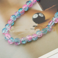 DIY Jewelry Accessories 6MM/8MM popcorn beads glass beads crackle beads (pink and blue)