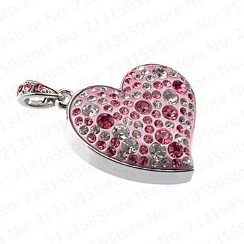 Retail jewelry pink Sweet Love Heart USB Flash Drives thumb pen drive memory stick disk gift 2GB 4GB 8GB 16GB 32GB Free shipping