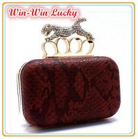 Top Quality Serpentine PU Women's Handbag Ring Grade Leather Leopard Hard Case Clutch. Shoulder Messenger Gold Chain Evening Bag