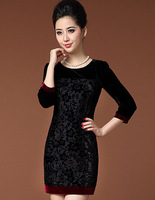 ANNALLY Autumn floral retro palace spell color package hip sleeve velvet dress has long sleeves