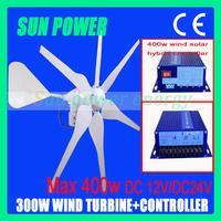 Free Shipping Max. 400W 12V/24V Wind Power/Wind Turbine Generator/Windmill+400w Wind Solar Hybrid Controller, CE, ROHS