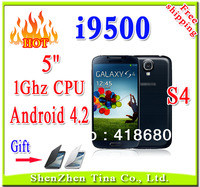 New i9500 S4 Android 4.2 Smart phone 5 inch HD screen 1.0GHz CPU Dual SIM Wifi phone support 88 country language mobile phone