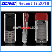 Best quality Ascent Ti 2010 phone, luxury ascent phone with stainless steel boy and genuine leather , hot sale perfect quality