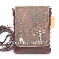Free ship 2013 fashion design pouch hip bags cross body bags rivet skull cross punk bags unisex travel messenger shoulder bags