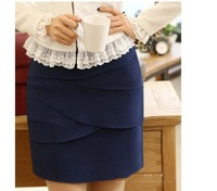 Ladies Elegant Formal Peplum Layer Chiffon Suit Skirt OL Career Office Work Wear slim Hips Suit Bust Skirts Size XS-XXL